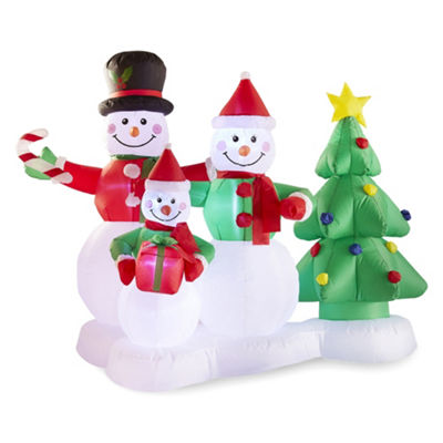 North Pole Trading Co. 6 Foot Wide Snowman Family Outdoor Inflatable