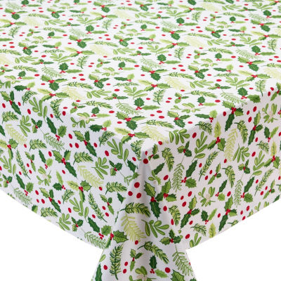 Design Imports Boughs of Holly Printed Tablecloth