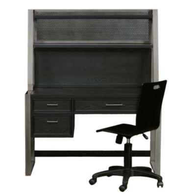 Graphite Desk with Hutch and Chair