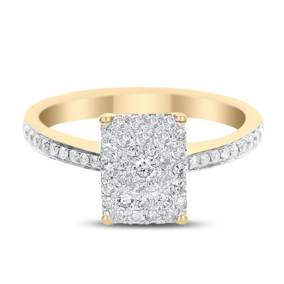 Womens 1/2 CT. T.W. Genuine White Diamond 14K Gold Engagement Ring