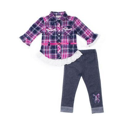 Little Lass 2-pc Plaid Belt Legging Set-Baby Girls