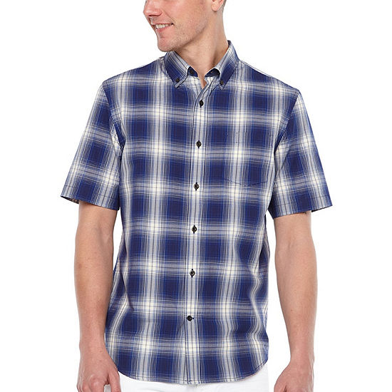 Big Mac Mens Short Sleeve Moisture Wicking Plaid Button-Front Shirt