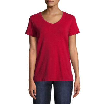 St. John's Bay Short Sleeve V Neck T-Shirt-Womens Petite
