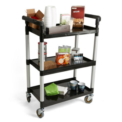 Mind Reader 3 Tier Mobile Rolling Coffee Cart with Handles, Black