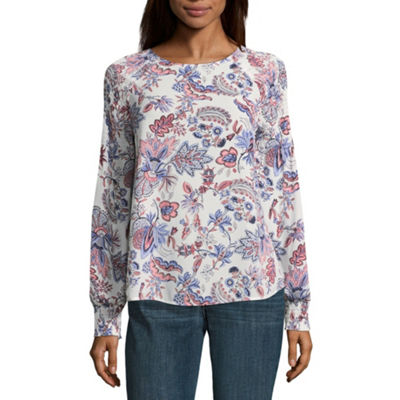 Worthington Womens Crew Neck Long Sleeve Blouse
