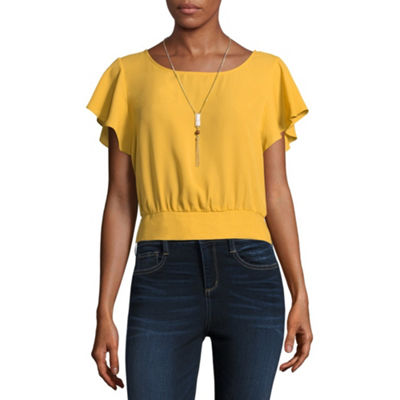 by&by Short Sleeve Scoop Neck Crepe Blouse-Juniors