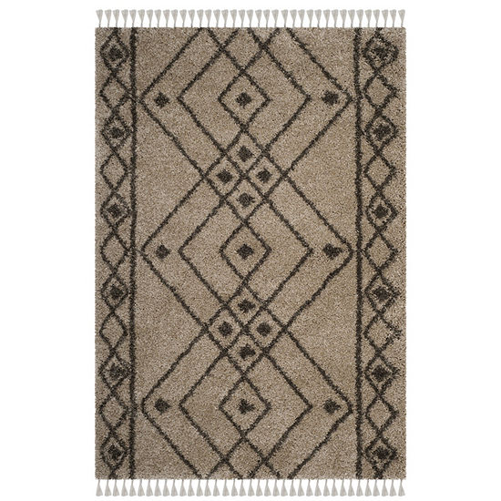 Safavieh Moroccan Fringe Shag Collection Anselmo Geometric Round Area Rug