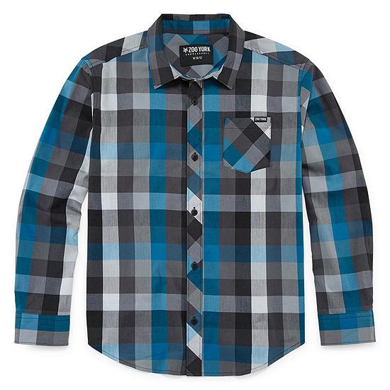 Zoo York Boys Long Sleeve Button-Front Shirt Big Kid