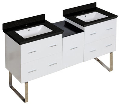 61.5-in. W Floor Mount White Vanity Set For 1 HoleDrilling Black Galaxy Top White UM Sink