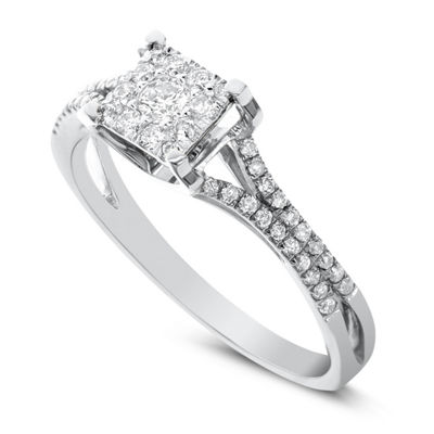 Womens 1/3 CT. T.W. Genuine White Diamond 14K White Gold Engagement Ring