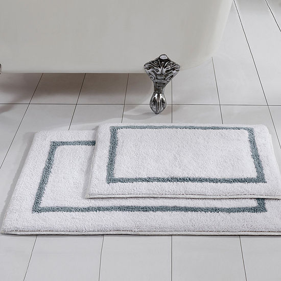 Pacific Coast Textiles Two-Tone Cotton Reversible 2-pc.  Bath Rug Set