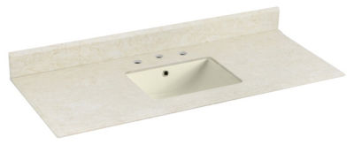 47.5-in. W 17.75-in. D Marble Top With BacksplashIn Beige Color For 3H8-in. Faucet - Biscuit UM Sink