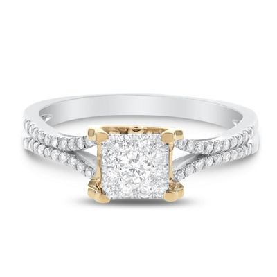 Womens 1/3 CT. T.W. Genuine White Diamond 14K Gold Engagement Ring