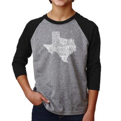 Los Angeles Pop Art Boy's Raglan Baseball Word ArtT-shirt - The Great State of Texas