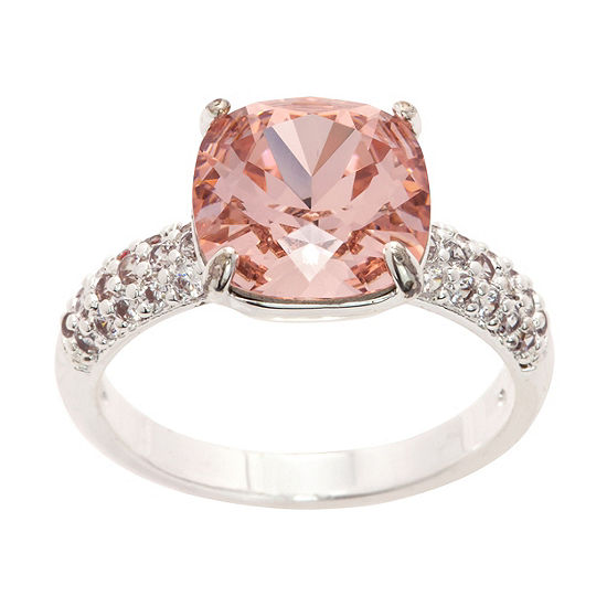 Sparkle Allure Pure Silver Over Brass Pink Crystal Cocktail Ring Made With Swarovski Elements