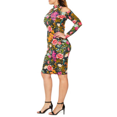 Bold Elements Long Sleeve Floral Bodycon Dress