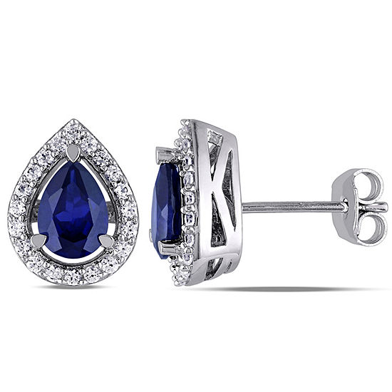Lab Created Blue Sapphire Sterling Silver 12mm Stud Earrings