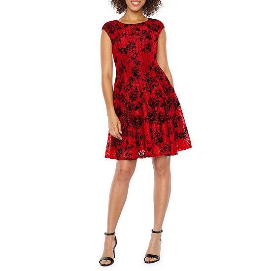 Danny & Nicole Short Cap Sleeve Lace Flocked Velvet Floral Fit & Flare Dress
