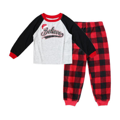 HOLIDAY #FAMJAMS Red Black Buffalo Believe 2 Piece Pajama Set - Boy's Toddler