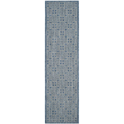 Safavieh Courtyard Collection Adelaide Geometric Indoor/Outdoor Runner Rug
