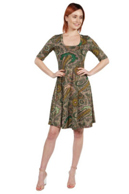 24Seven Comfort Apparel Lorna Green Paisley Dress