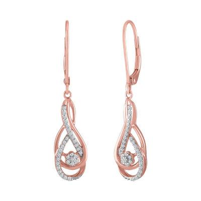 Diamond Blossom 1/7 CT. T.W. Genuine Diamond 10K Rose Gold Drop Earrings