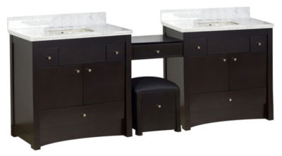 93.25-in. W Floor Mount Distressed Antique WalnutVanity Set For 3H8-in. Drilling Bianca Carara TopBiscuit UM Sink