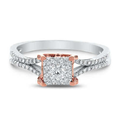 Womens 1/3 CT. T.W. Genuine White Diamond 14K Rose Gold Engagement Ring