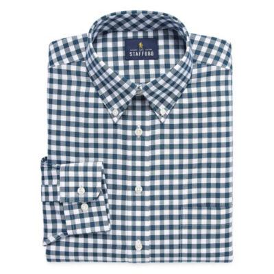 Stafford Travel Stretch Oxford Long Sleeve Oxford Checked Dress Shirt