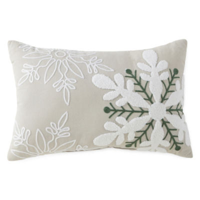North Pole Trading Co. Embroidered Snowflake Rectangular Throw Pillow
