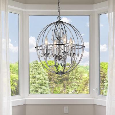 Warehouse Of Tiffany Avee 4-light Crystal 16.5-inch Chrome Spherical Chandelier
