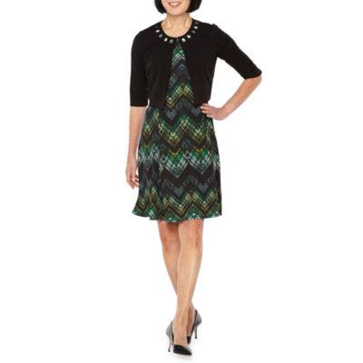 Perceptions Short Sleeve Chevron Print Jacket Dress