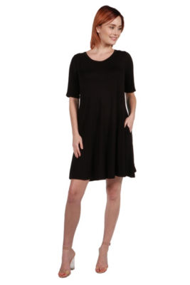 24Seven Comfort Apparel Pocket Mini Dress