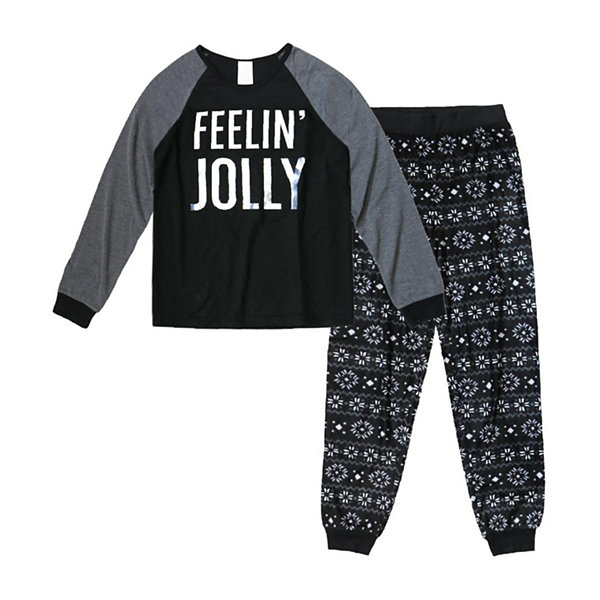 Holiday #Famjams Black and Gray FairIsle 2 Piece Pajama Set - Boy's