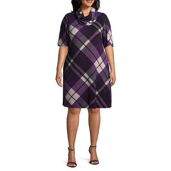 51d38018c02 Studio 1 Cowl Neck Plaid Dress - Plus - JCPenney