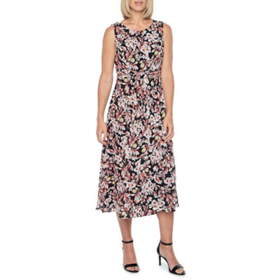 Black Label by Evan-Picone Sleeveless Floral Sheath Dress