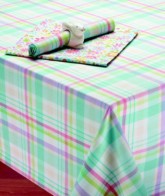 Design Imports Easter Basket Plaid Tablecloth - Round