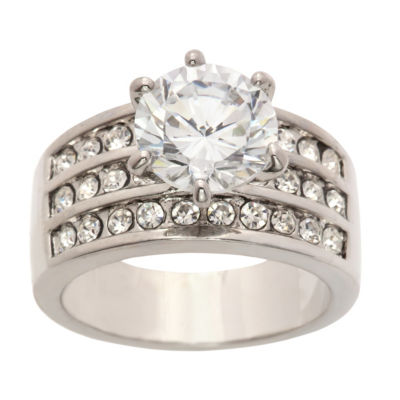 Sparkle Allure Ring Box Test Womens 5 CT. T.W. Lab Created Clear Pure Silver Over Brass Engagement Ring