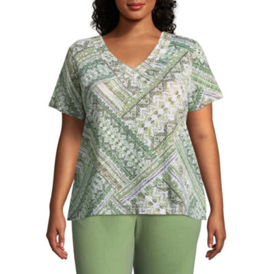 Alfred Dunner Parrot Cay Ethnic Patchwork Tee - Plus