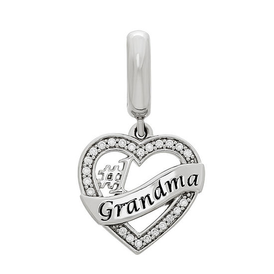 "PS Personal Style ""#1 Grandma"" White Cubic Zirconia Heart Charm"