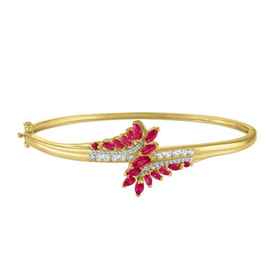 Lab Created Red Ruby 14K Gold Over Silver Bangle Bracelet