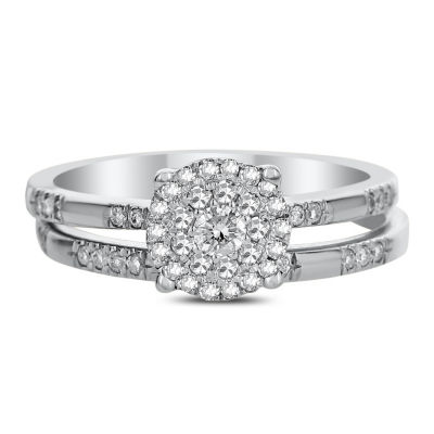 Womens 3/8 CT. T.W. Genuine White Diamond 14K White Gold Bridal Set