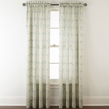 JCPenney Home Hilton Damask Light-Filtering Rod-Pocket Single Curtain Panel, One Size , Green