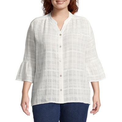 Lark Lane Must Haves Metallic Plaid Blouse- Plus