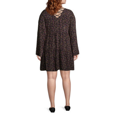 Arizona Long Sleeve Floral Shift Dress-Juniors