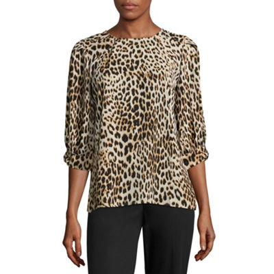 Worthington Womens Round Neck 3 4 Sleeve Blouse Jcpenney