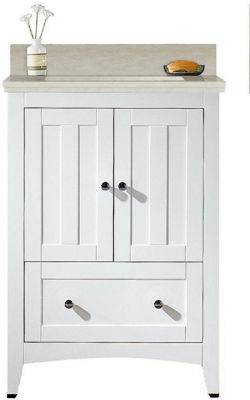 23.75-in. W Floor Mount White Vanity Set For 3H4-in. Drilling Beige Top White UM Sink