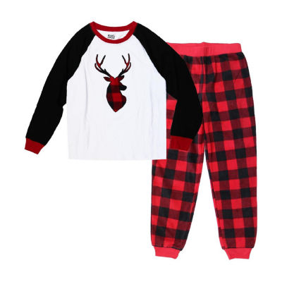 Holiday Famjams Red Black Buffalo Deer 2 Piece Pajama Set - Unisex Kid's