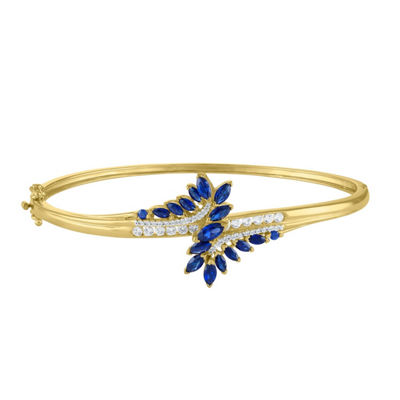 Lab Created Blue Sapphire 14K Gold Over Silver Bangle Bracelet