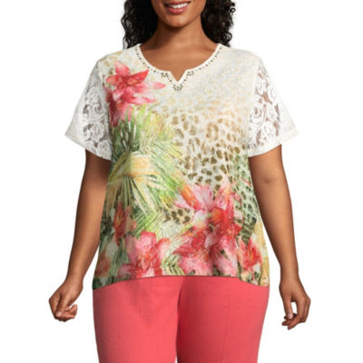 Alfred Dunner Parrot Cay Tropical Skin Tee - Plus